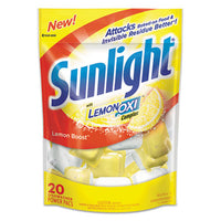 Sunlight® Auto Dish Power Pacs, Lemon Scent, 1.5 oz Single Dose Pouches, 20/Pack Cleaners & Detergents-Automatic Dishwasher Detergent - Office Ready