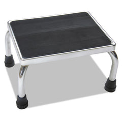 Medline Chrome Foot Stool 16w x 12d x 8 1/4h, Steel, Chrome/Black Mat