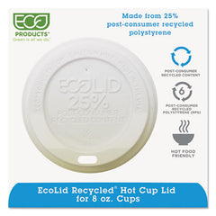Eco-Products® EcoLid® 25% Recycled Content White, Fits 8oz Hot Cups, 100/PK, 10 PK/CT