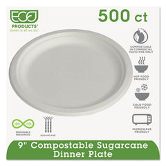 "Eco-Products® Sugarcane Dinnerware, 9"", 500/Carton"