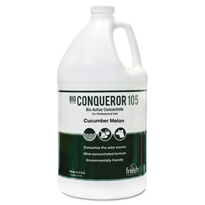 Fresh Products Bio Conqueror 105 Enzymatic Odor Counteractant Concentrate, Cucumber Melon, 1gal, Bottle, 4/Carton Air Fresheners/Odor Eliminators-Counteractant/Digester - Office Ready