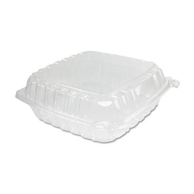 Dart® ClearSeal® Hinged-Lid Plastic Containers Large, 9x9-1/2x3, Clear, 100/Bag Food Containers-Takeout Clamshell, Plastic - Office Ready