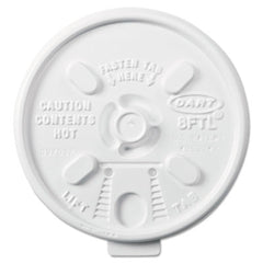 Dart® Lift n' Lock Plastic Hot Cup Lids, 6-10oz Cups, White, 1000/Carton