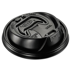 Dart® Optima® Reclosable Lids for Foam Hot Cups, 12-24oz Cups, Black, 100/Sleeve, 10 Sleeves/Carton