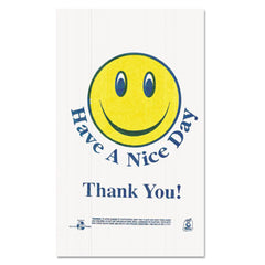 "Barnes Paper Company Smiley Face Shopping Bags, 12.5 microns, 11.5"" x 21"", White, 900/Carton"