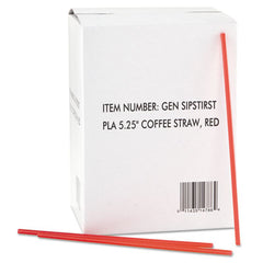 "GEN Coffee Stirrers, Red/White, Plastic, 5 1/4"", 1000/Box, 10 Boxes/Carton"