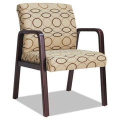 Alera® Reception Lounge WL Series Guest Chair, Mahogany/Tan Fabric