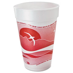 Dart® Horizon® Hot/Cold Foam Drinking Cups, Hot/Cold, 16oz., Printed, Cranberry/White, 25/Bag, 40/CT