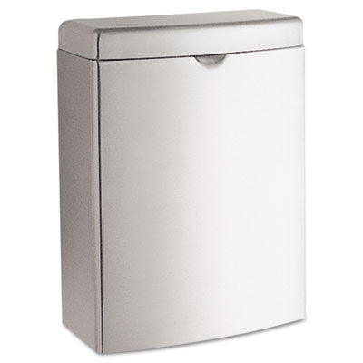 Bobrick Contura™ Receptacle Rectangular, Stainless Steel, 1gal Waste Receptacles-Sanitary Napkin, Rectangle, Hinge Lid - Office Ready