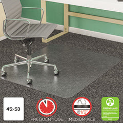 deflecto® SuperMat Frequent Use Chair Mat for Medium Pile Carpeting Medium Pile Carpet, Beveled, 45 x 53, Clear