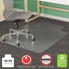 deflecto® SuperMat Frequent Use Chair Mat for Medium Pile Carpeting Medium Pile Carpet, Beveled, 45x53 w/Lip, Clear