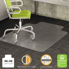 deflecto® DuraMat® Moderate Use Chair Mat for Low Pile Carpeting 36 x 48 w/Lip, Clear