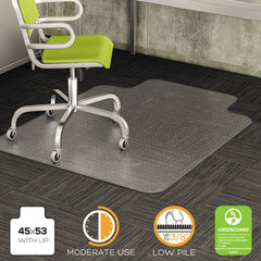 deflecto® DuraMat® Moderate Use Chair Mat for Low Pile Carpeting, 45 x 53, Wide Lipped, Clear