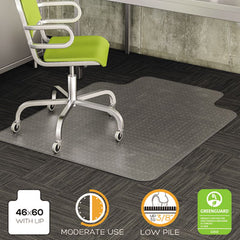 deflecto® DuraMat® Moderate Use Chair Mat for Low Pile Carpeting, 46 x 60, Wide Lipped, Clear