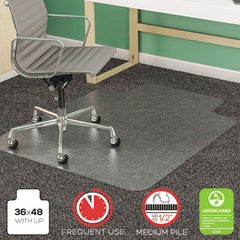 deflecto® SuperMat Frequent Use Chair Mat for Medium Pile Carpeting Medium Pile Carpet, Beveled, 36x48 w/Lip, Clear