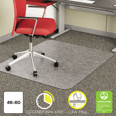 deflecto® EconoMat® Occasional Use Chair Mat for Commercial Low Pile Carpeting 46 x 60, Clear