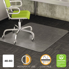 deflecto® DuraMat® Moderate Use Chair Mat for Low Pile Carpeting Beveled, 46 x 60, Clear