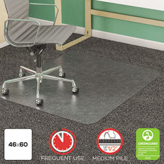 deflecto® SuperMat Frequent Use Chair Mat for Medium Pile Carpeting, Medium Pile Carpet, Flat, 46 x 60, Rectangle, Clear