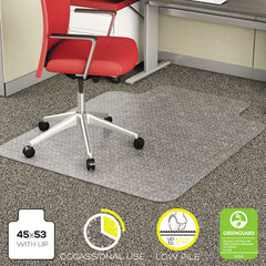 deflecto® EconoMat® Occasional Use Chair Mat for Commercial Flat Pile Carpeting, 45 x 53, Wide Lipped, Clear