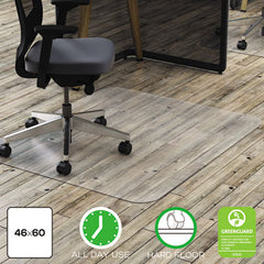 deflecto® Clear Polycarbonate All Day Use Chair Mat, 46 x 60, Rectangle, CR