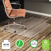 deflecto® EconoMat® Non-Studded Anytime Use Chairmat for Hard Floors 45 x 53 w/Lip, Clear Mats-Chair Mat - Office Ready