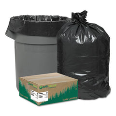 Earthsense® Commercial Linear Low Density Recycled Can Liners 40-45gal, 1.25mil, 40 x 46, Black, 100/Carton
