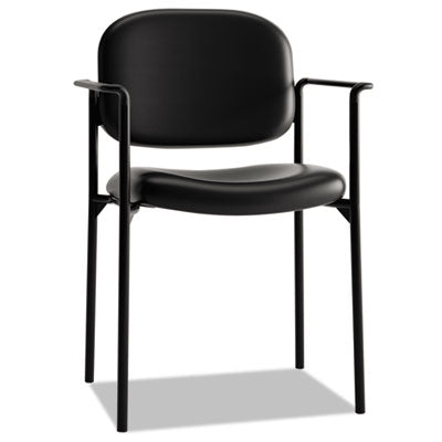 HON® VL616 Stacking Guest Chair with Arms, Black Seat/Black Back, Black Base Chairs/Stools-Folding & Nesting Chairs - Office Ready