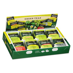 Bigelow® Green Tea Assortment, Individually Wrapped, Eight Flavors, 64 Tea Bags/Box