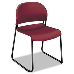 HON® GuestStacker® High Density Chairs Burgundy with Black Finish Legs, 4/Carton