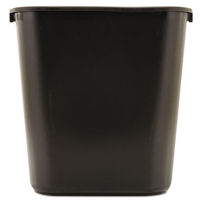 Rubbermaid® Commercial Deskside Plastic Wastebasket Rectangular, 7 gal, Black Waste Receptacles-Basket, Rectangle - Office Ready