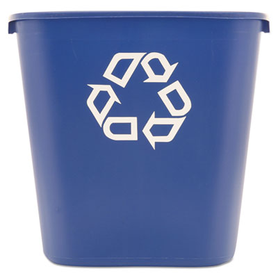 Waste Receptacles-Recycling Basket, Rectangle - Rubbermaid® Commercial Deskside Recycling Container Rectangular, Plastic, 28.125qt, Blue - Office Ready - 1