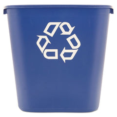 Rubbermaid® Commercial Deskside Recycling Container Rectangular, Plastic, 28.125qt, Blue