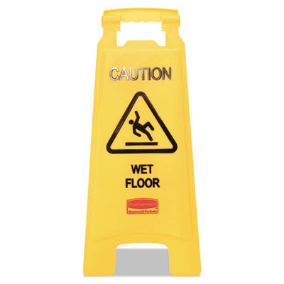 "Rubbermaid® Commercial ""Caution Wet Floor"" Floor Sign Plastic, 11 x 1 1/2 x 26, Bright Yellow Safety Cones-Folding Floor Sign - Office Ready"