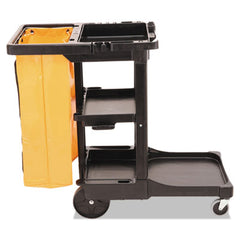 Rubbermaid® Commercial Multi-Shelf Cleaning Cart Three-Shelf, 20w x 45d x 38-1/4h, Black