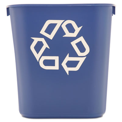 Rubbermaid® Commercial Deskside Recycling Container Rectangular, Plastic, 13.625qt, Blue Waste Receptacles-Recycling Basket, Rectangle - Office Ready