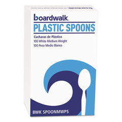 Boardwalk® Mediumweight Polystyrene Cutlery Teaspoon, White, 100/Box