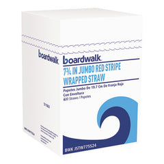 "Boardwalk® Jumbo Straws 7 3/4"", Plastic, Red w/White Stripe, 500/Pack, 24 Pack/Carton"