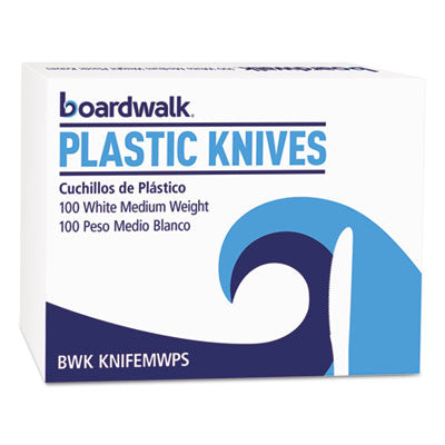 Boardwalk® Mediumweight Polystyrene Cutlery Knife, White, 100/Box Utensils-Knife - Office Ready