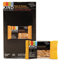 Food-Granola Bar - KIND Healthy Grains Bars Oats and Honey with Toasted Coconut, 1.2 oz, 12/Box - Office Ready - 1