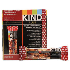 KIND Plus Nutrition Boost Bars Cranberry Almond and Antioxidants, 1.4 oz, 12/Box