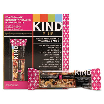 Food-Nutrition Bar - KIND Plus Nutrition Boost Bars Pom. Blueberry Pistachio/Antioxidants, 1.4 oz, 12/Box - Office Ready - 1