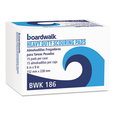 Scouring Pads/Sticks-Pad - Boardwalk® Heavy-Duty Scour Pad Green, 6 x 9, 15/Carton - Office Ready - 1