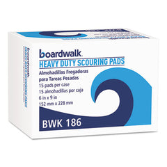 Boardwalk® Heavy-Duty Scour Pad Green, 6 x 9, 15/Carton