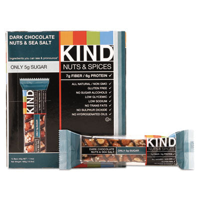 Food-Nutrition Bar - KIND Nuts and Spices Bar Dark Chocolate Nuts and Sea Salt, 1.4 oz, 12/Box - Office Ready - 1