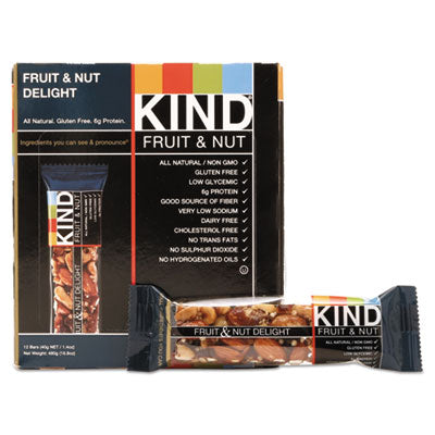 Food-Nutrition Bar - KIND Fruit and Nut Bars Fruit and Nut Delight, 1.4 oz, 12/Box - Office Ready - 1