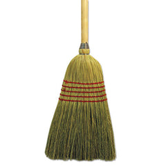 "Boardwalk® Parlor Broom Corn Fiber Bristles, 42"" Wood Handle, Natural"