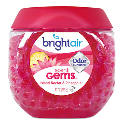BRIGHT Air® Scent Gems™ Odor Eliminator Island Nectar and Pineapple, Pink, 10 oz Air Fresheners/Odor Eliminators-Gel - Office Ready