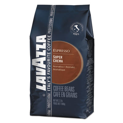 Lavazza Super Crema Whole Bean Espresso Coffee 2.2lb Bag, Vacuum-Packed Beverages-Coffee, Whole Bean - Office Ready