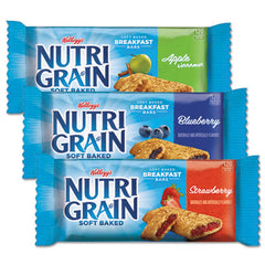 Kellogg's® Nutri-Grain® Cereal Bars, Asstd: Apple, Blueberry, Strawberry, 1.3oz Bar, 48/Ctn