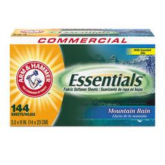 Arm & Hammer™ Essentials™ Dryer Sheets, Mountain Rain, 144 Sheets/Box, 6 Boxes/Carton